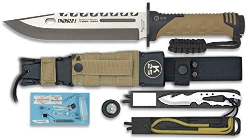 K25 Cuchillo Thunder I Camo Sand Hoja 9 cm para Caza, Pesca,
