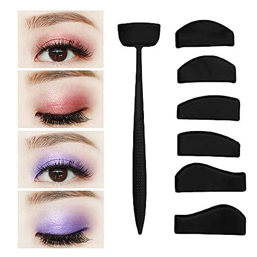 TOFBS 6 in 1 in silicone a forma di pieghe per ombretto, kit di stencil per ombretto, fissatore di pigri, portatile, con sigillo a forma di piega, per occhi da donna