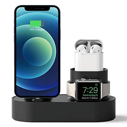 JINYJIA Soporte 3 en 1 para iPhone iWatch Airpods, Punto Cargador para iPhone 12/11/XS/7 Plus/6S, Apple iWatch Series SE,6/5/4/3/2/1, AirPods 2/1 [Necesario el Cable Original - NO Incluido],Negro