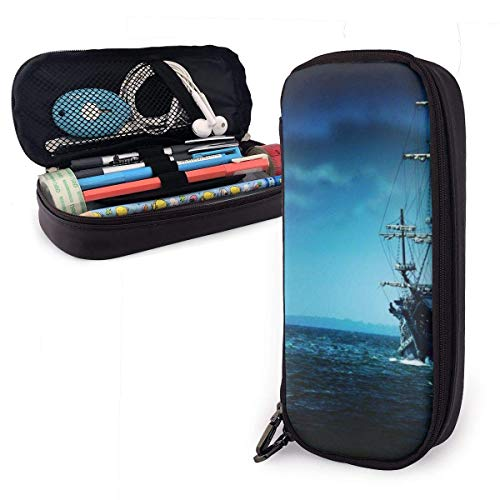Etui,Moon Illuminates Pirate Ship Leder Pen Case Bedruckte Stifthalter Make-Up Bag Handytasche Für Studenten,20X9X4Cm