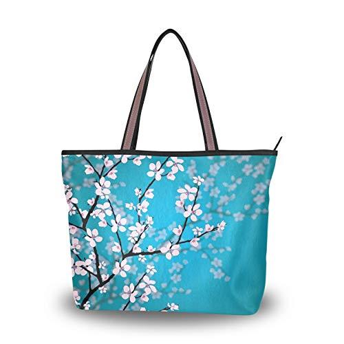 NaiiaN Bolsos de mano con flores de cerezo japonesas, bolso de mano ligero con correa para mujeres, niñas, señoras, monedero para estudiantes, compras