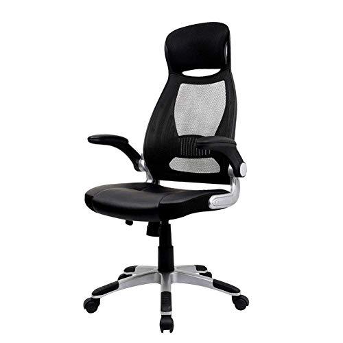 オフィスチェア メッシュ パソコンチェア ハイバック事務椅子 人間工学 ロッキング デスクチェア 肘付き 跳ね上げ s字 座面調節 勉強用 おしゃれ (ブラック2)