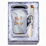 Jumway Boss Lady Mugs - Best Gifts for Mom and Female Boss Friend - Boss Gifts Birthday Gifts for Women Boss Mom 14oz Marble Ceramic Coffee Mug