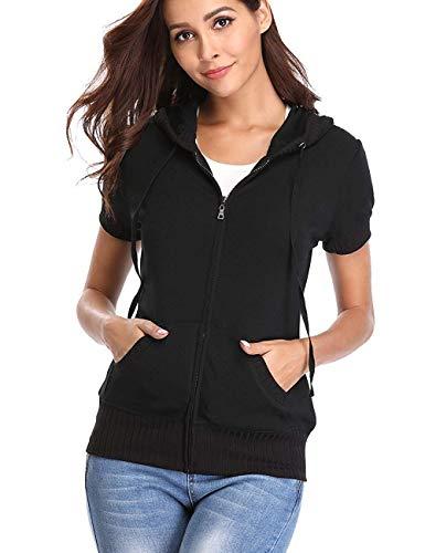 Dilgul - Sudadera con capucha para mujer, con cremallera, manga corta, chaqueta ajustada, cuarteto, bolsillos de parche Negro Negro ( 50