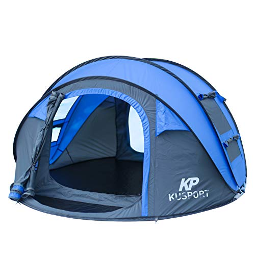Kusport ZP04 3-4 Person Pop Up Dome Automatic Setup Family Beach Camping Tent, Blue, Generic