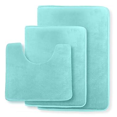 Clara Clark Non Slip Memory Foam Tub-Shower Bath Rug Set, Includes 1 Small Size 17 x 24 in. 1 Large Size 20 X 32 in. 1 Contour Rug 24 x 19 In. - Aqua Light Blue