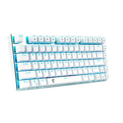 60% Mechanical Gaming Keyboard, E-Element Z88 with Blue Switches, Cyan LED Backlit, Water Resistant, Compact 81 Keys Anti-Ghost, White Silver
