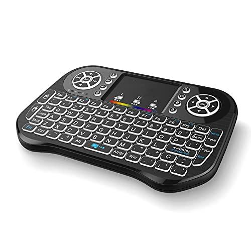 Skyeen i10 2.4GHz Teclado inalámbrico 7 Colores Mini Teclado retroiluminado con Touchpad Mouse Control Remoto de Mano para Android TV Box Smart TV PC Notebook