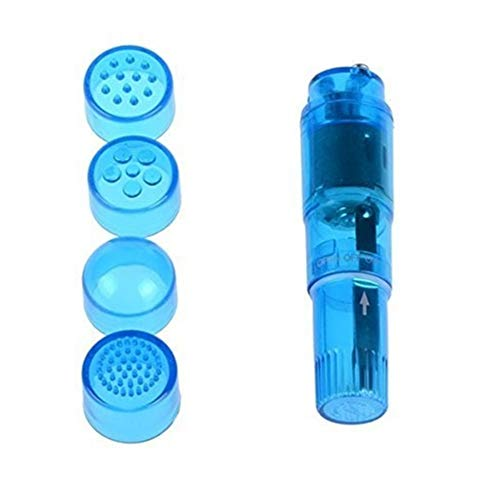 Finever Mini Handheld Massager Pen with 4 Heads for Face Neck Head Shoulder Back Blue