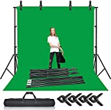 Selens Green Screen Backdrop + Background Stand Kit 2x3M Photography Support System Muslin Chromakey Backdrop with Clips Clamps for Photo Studio Video Production