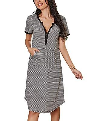 Ekouaer Women Cotton Sleepshirt V Neck Button Down Striped Casual Nightgown Black White