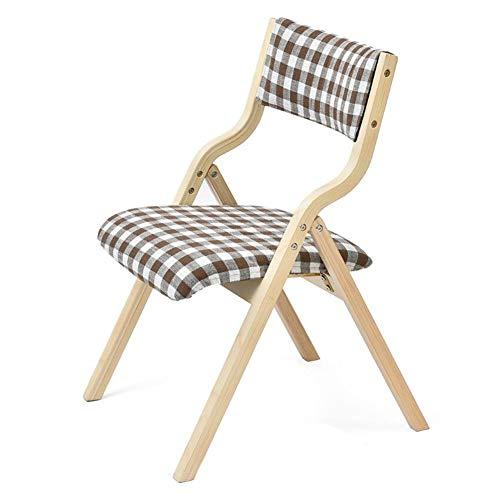 QIDI Chaise Pliante Tabouret Pliant Chaise de Salle à Manger Chaise de Bureau Chaise Longue en Bois Massif Simple Moderne Pliable Pas Besoin d'installer Amovible Lavable (Couleur : Plaid)