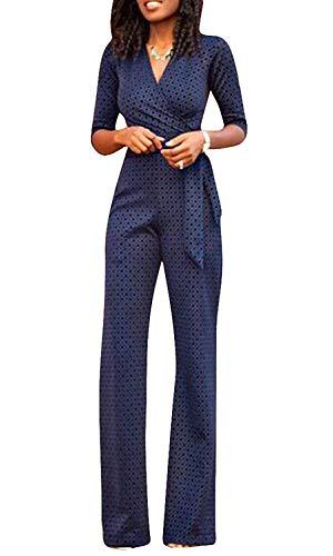 Targogo Vrouwen Romper Lang Mode Elegante Jumpsuit Formele Festival Feestelijke Mode Lange Mouw V-hals Hoge Taille Slanke Vintage Polka Dots Cocktail Party Avond Draag Jumpsuit Broek Pak
