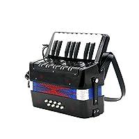 17キー8低音のアコーディオン子供キッズギフトブルー/ブラック/レッドための器具小型アコーディオン教育楽器 (Color : Black)