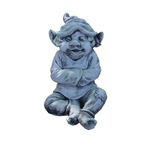 gartendekoparadies.de Figure de Pierre Massive GNOME Amusant « J'AI Froid »Troll Lutin en Pierre reconstituée, résistant au Gel