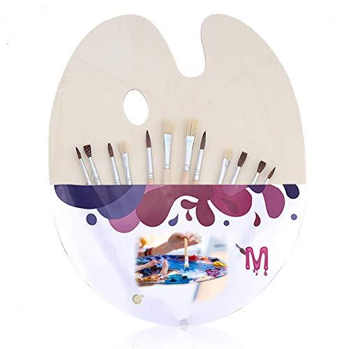 Mischpalette, mit 12 Pinsel und Daumenloch, Pinselset für Acryl, ölfarben Acrylfarben, Aquarell & Wasserfarben