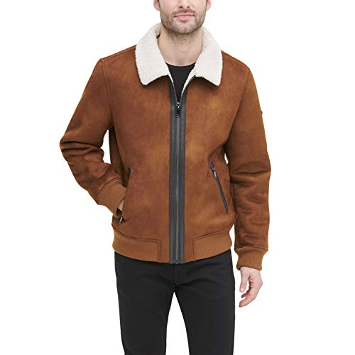 DKNY Men's Shearling Bomber Jacket with Faux Fur Collar, Brown, Medium