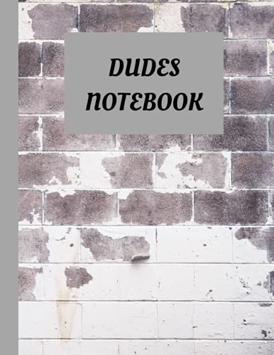 DUDES NOTEBOOK: BLANK PAGES NOTEBOOK of 100 BLANK PAGES. BRICK WALL COVER