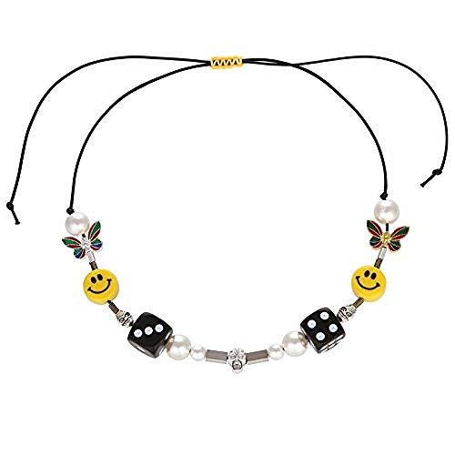 NC110 Collar de Calavera de Perlas Collares Pendientes de Perlas de Diamantes de imitación de Color Plateado