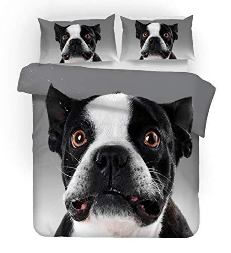 ZLLBF Bettwäsche 155x220 Boston Terrier 3 Teilig Mikrofaser Bettbezug Set Weiche & Atmungsaktive Bettbezüge Mit Reißverschluss Und 2 Kissenbezug 50x75cm