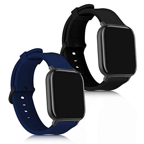 kwmobile 2X Brazalete Compatible con Huami Amazfit GTS/GTS 2 - Pulsera de Silicona Negro/Azul Oscuro sin Fitness Tracker