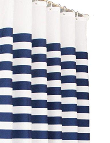 Violetpos Klassischer Blauer & weißer Streifen Duschvorhang Badezimmer Dekorative 160 x 180 cm