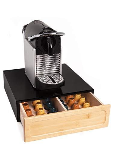 FMC SOLUTIONS Cassetto Porta Capsule o Cialde Compatibili Nespresso e Dolce Gusto, Bustine e Accessori - Portacialde in Legno Massello, 31x30x10cm (Nero)