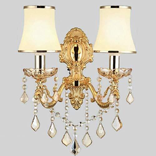 Wandlamp van staal met heldere continentale nachtkastje lamp goud-woonkamer slaapkamer gang wandlamp LED kristallen bout wandlamp 39 * 45 cm wandverlichting