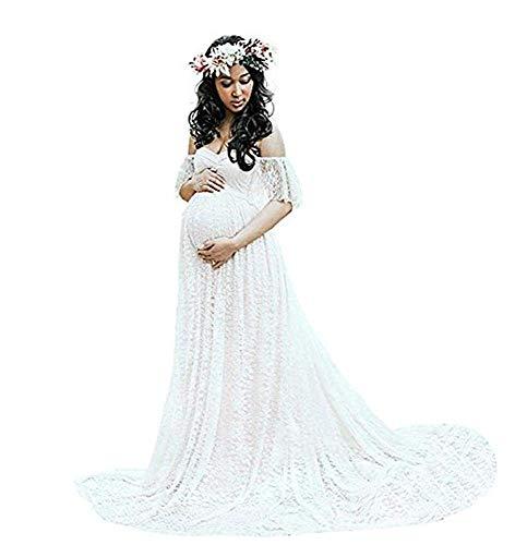 Huixin Damen Spitze Hochzeitskleid Für Für Schwangere Kleider Elegante Schwangere Foto Shooting Kleid Maxikleider Abschlussball Wedding Umstandsmode Womens (Color : Whitee, Size : M)