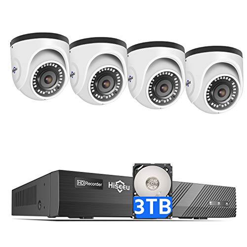 4K PoE Security Camera System, Hiseeu 8CH PoE Surveillance NVR Kit with 3TB HDD, 4Pcs 4K 8MP...
