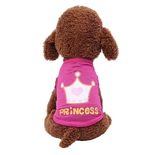 Liqiqi Ropa de Verano para Mascotas con Estampado de Corona de Princesa, Chaleco para Perro, Transpirable, Camiseta, Abrigo, Disfraz para Cachorros, Ropa para Perros, suéter para Perros