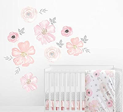 Sweet Jojo Designs Blush Pink, Grey and White Large Peel and Stick Wall Mural Decal Stickers Art Nursery Decor for Watercolor Floral Collection - Set of 2 Sheets
