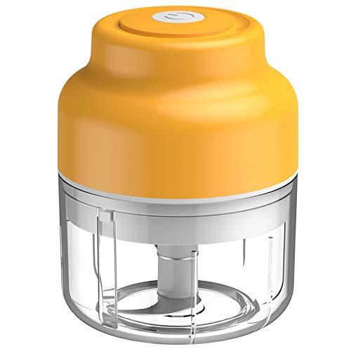 Camisin 100 ML Tritatutto Elettrico Pressa Aglio Cucina Estrattore Aglio Taglierina Carne Frutta Verdura Chopper Accessori (Giallo)