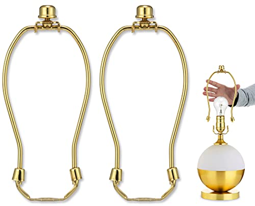 6 Inch Detachable Lamp Shade Harp Holder for Table and Floor Lamps,2 Set Heavy Duty Lamp Shade Bracket with 3/8 Standard Saddle and Lamp Finial,Polished Brass