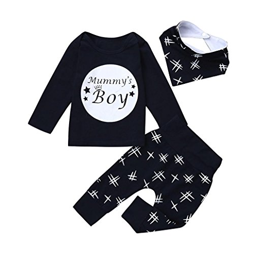 URSING Dreiteiligen Anzug Kleinkind Säugling Baby Jungen Buchstabe Mummy Boy Gedruckt Lange Ärmel T-Shirt + Super gemütlich Freizeit Hose + Niedliche Lätzchen Outfits Kleider Set (100CM, Dunkelblau)