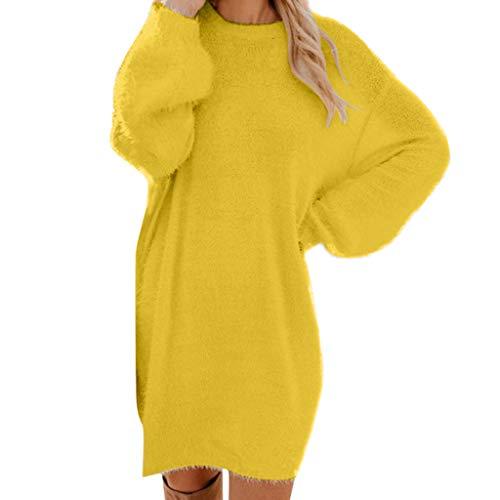Youmymine Women Long Sleeve Sweater Knit Turtleneck Winter Warm Sweatshirt Loose Mini Casual Dress (L, Yellow)