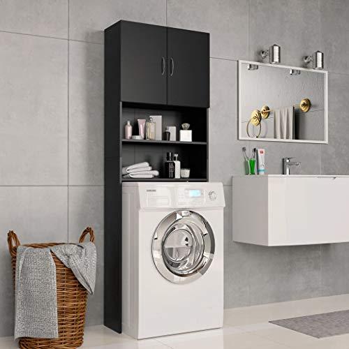 UnfadeMemory Waschmaschinenschrank Hochschrank Spanplatte Badregal Badezimmerschrank mit 2 Türen und 2 Offenen Fächern Ausreichend Stauraum 64 x 25,5 x 190 cm (Schwarz)