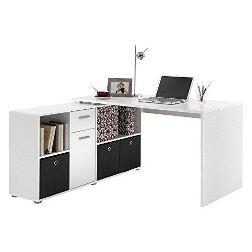 """Beauty Scouts Eck-Schreibtisch, Winkeltisch \""""Ahi\"""" Tisch, Bürotisch, Arbeitstisch, Arbeitsplatz, Computertisch, Büromöbel, Arbeitszimmer, Büro, Home Office, weiss, 136x74x66,5 cm Farbe weiß"""