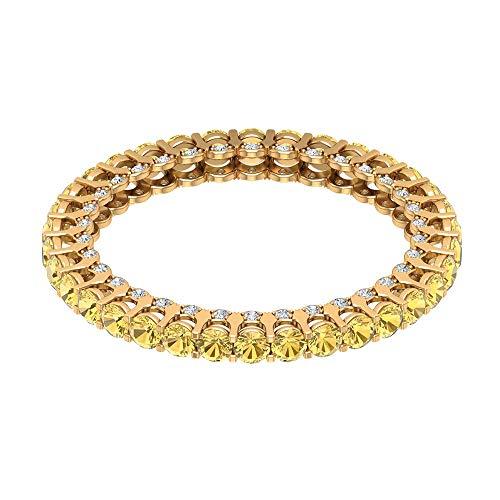 Anillo de eternidad de novia de 1,36 ct certificado citrino, anillo de eternidad de diamante antiguo de 1/4 ct, anillo de boda único con piedras preciosas, 14K Oro amarillo, Size:EU 52