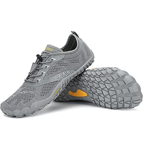 SAGUARO Zapatillas Minimalistas Hombre Zapatillas de Barefoot Mujer Zapatillas de Trail Running Antideslizante Escarpines de Agua Stil: C Gris Gr.44