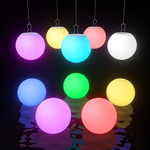 Smarich LED Spa Licht, IP68 Wasserdichtes schwimmendes Pool Licht, RGB Farbwechsel Badewanne Nachtlicht, Leuchten Ball Licht für Kinder Geschenk (TASTE, 10 Stück)