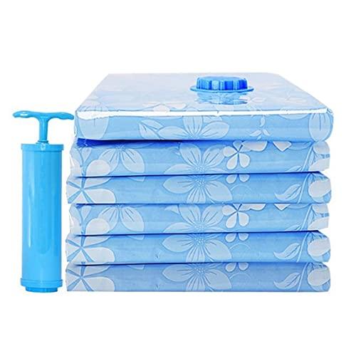 ANLKUJHF Bolsa de almacenamiento al vacío engrosada para manta colcha, ropa de cama, forros comprimidos, ahorra espacio con bomba de mano, bolsa reutilizable sellada al vacío, organizador