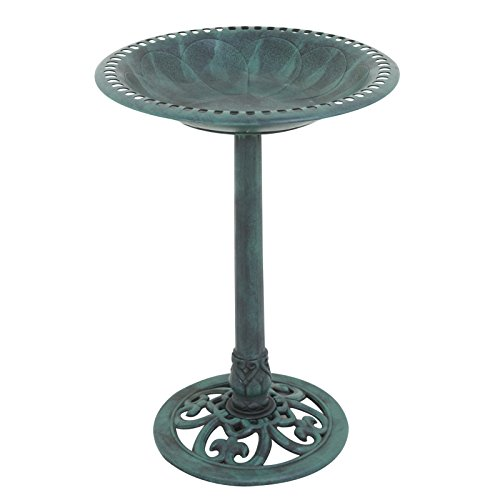 "Nova Microdermabrasion 28"" Pedestal Bird Bath Antique Birdbath Bowl Outdoor Garden Vintage Décor Backyard Feeders,Green Rustic (Green)"