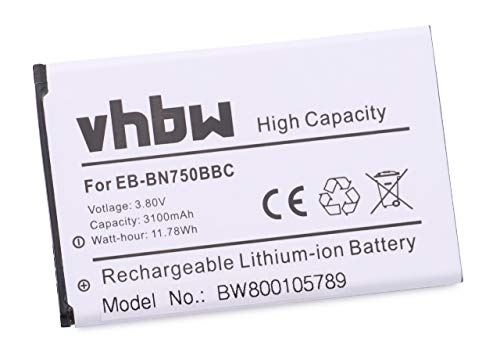 vhbw Li-Ion Akku 3100mAh (3.8V) für Tablet Netbook Pad Samsung Galaxy Note 3 Neo SM-N7505, 3 Neo SM-N7507 wie EB-BN750BBC, EB-BN750BBE.