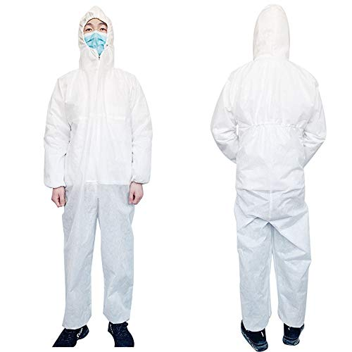 Wegwerp Isolatie Suit White Hooded Niet-Steriel One-Piece Adult Clean Workwear Elastic Pols Voor Stofdicht Mite-Proof Insect-Proof Waterdicht Bodysuit (2 Pack),XXL