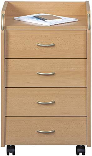Rollcontainer Bürocontainer Rollschrank Schubladenkommode Büroschrank KF-Board Buche Nachbildung 40B x 65H x 36T cm
