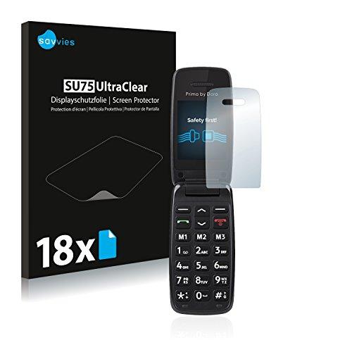 Savvies 18x Schutzfolie kompatibel mit Doro Primo 401 Bildschirmschutz-Folie Ultra-transparent
