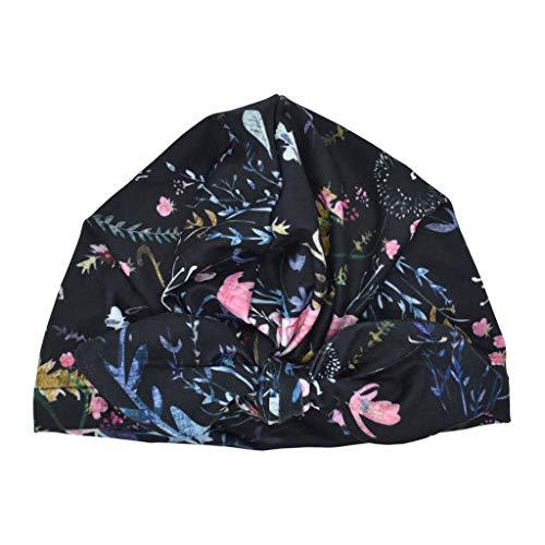 Susenstone Bonnet Bebe Fille Naissance avec Noeud Fleur Imprimé Pas Cher A La Mode Chapeau Bonnet Enfant Fille Garcon Turban Anti UV 0-2 Ans (0-2 Ans, Noir)