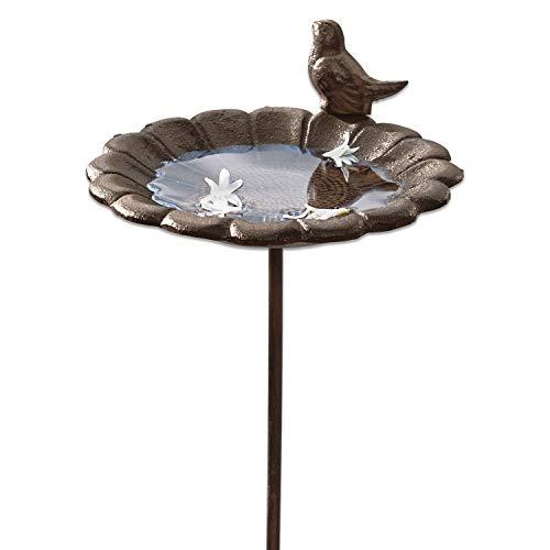 Loberon Vogeltränke Finch, Gusseisen, H/Ø ca. 109/20 cm, braun