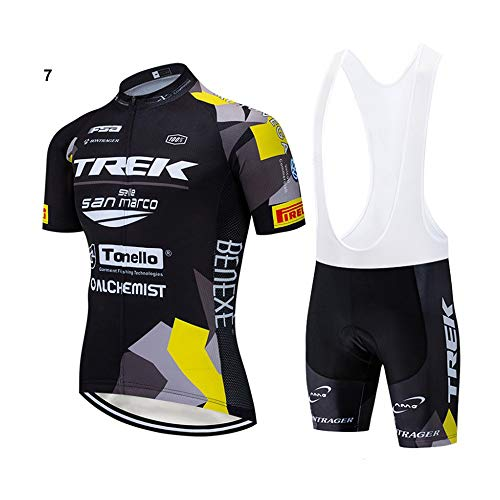 Men's Cycling Jersey Set 2019 Professional Bicycle Team Short Sleeve Breathable Shirt + 3D Padded Bib Shorts Quick-Dry